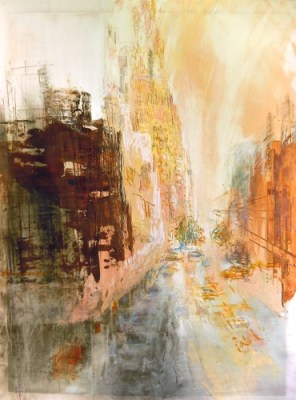 """Street with Hoarding. Oil, charcoal and pastel on mylar over acrylic on paper, 22.5"""" x 30"""", 2013  SOLD"""