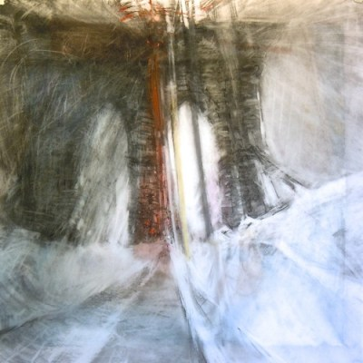"""Arches. Charcoal on vellum over acrylic on paper, 18"""" x 18"""", 2013  SOLD"""