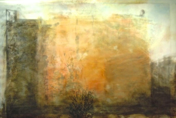 """Tree Wall. Oil, graphite and charcoal on vellum over acrylic on paper, 34"""" x 53"""", 2012 SOLD"""