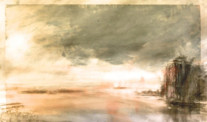 """Islands Under Cloud. Charcoal on vellum over acrylic on paper, 18"""" x 30"""", 2013  SOLD"""