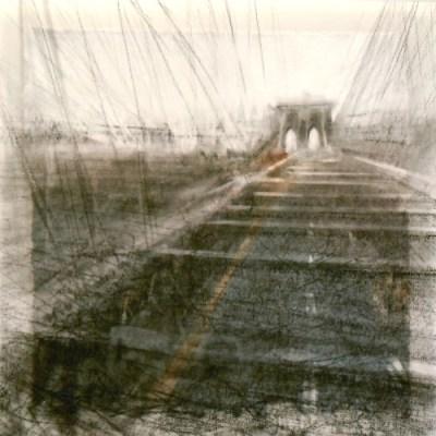 "Brooklyn Bridge. Charcoal on vellum over acrylic on paper, 5.25"" x 5.25"", 2012  SOLD"