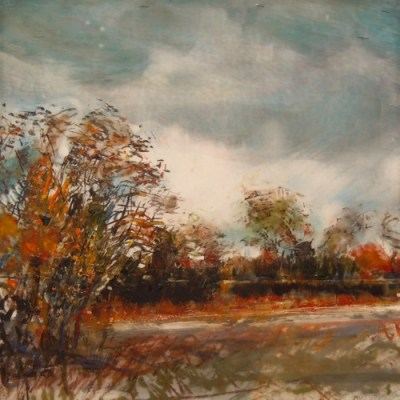 """Park in Autumn. Oil and oil stick on duralar over acrylic on panel, 12"""" x 12"""", 2015 