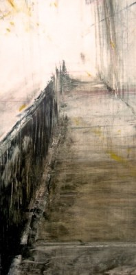 """Underpass II. Oil and oil stick on duralar over acrylic and collage on panel, 12"""" x 6"""", 2016 