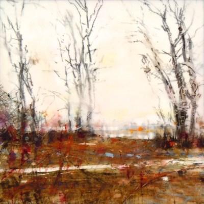 "Ward's Island Trees. Oil stick on duralar over acrylic on panel, 6"" x 6"", 2016 | SOLD"