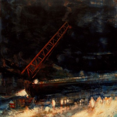 """Underpass V (Night Crane). Oil on duralar over collage on panel, 12"""" x 12"""", 2016  