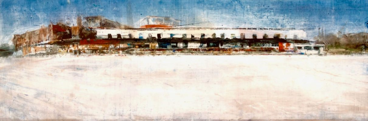 """Across the Soccer Pitch, Winter. Oil and oil stick on duralar over acrylic and collage on panel, 12"""" x 36"""", 2017 