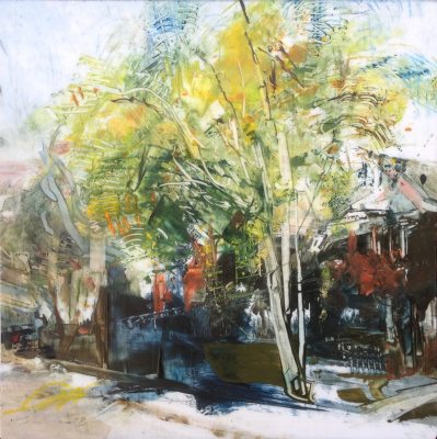 """Charley's Birch, Spring. Oil and oil stick on duralar over acrylic on panel, 6"""" x 6"""", 2017 