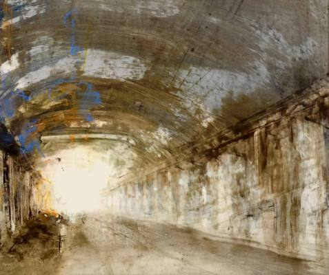 """Underpass VII. Oil and oil stick on duralar over acrylic on panel, 10"""" x 12"""", 2017 