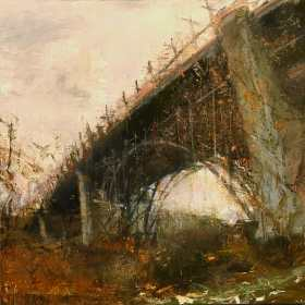"""Bloor Street Viaduct: Looming. Oil and Acrylic on panel, 12"""" x 12"""", 2019 