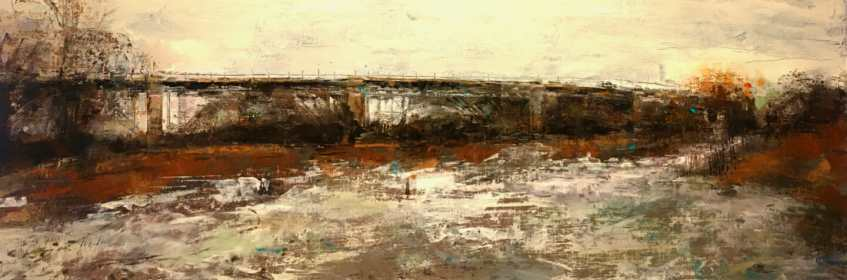 "Bloor Street Viaduct: Span. Acrylic and oil on panel, 12"" x 36"", 2019 