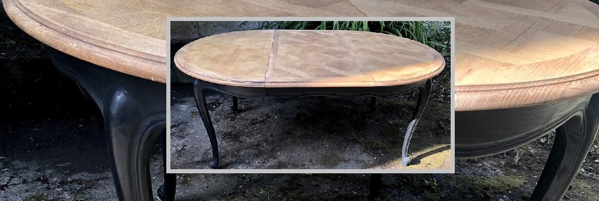table en chene avec rallonges relookee