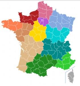 Carte des nouvelles régions par Gtaf (fichier d'origine Naturals) — Travail personnel d'après Naturals. Sous licence CC BY-SA 4.0 via Wikimedia Commons.