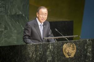 Ban Ki-moon lors du discours d'ouverture de la CSW60, le 14 mars à New York