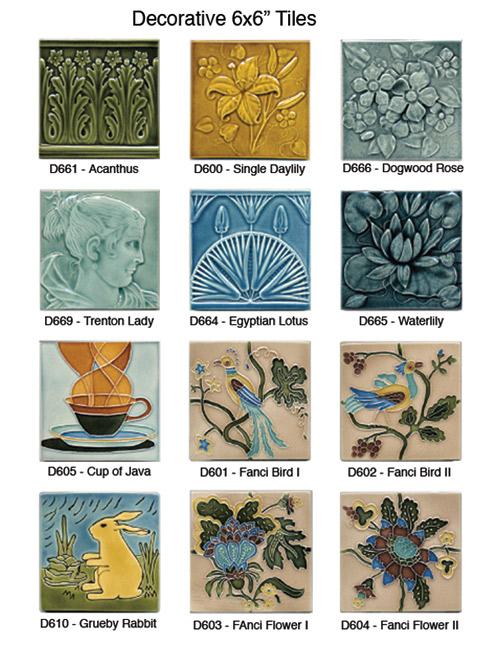 decorative 6x6 tiles