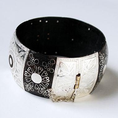 bracelet mauritanien en argent et bois d'ébène