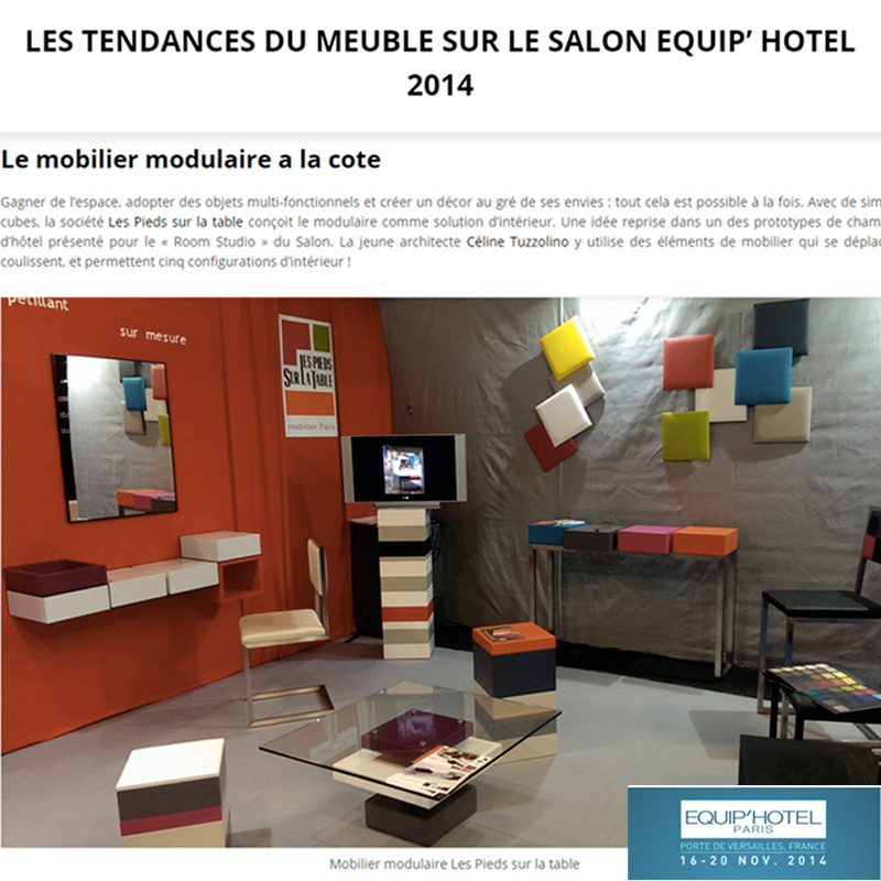 Mobilier modulable Les Pieds Sur La Table  la Une Salon Equiphotel 2014