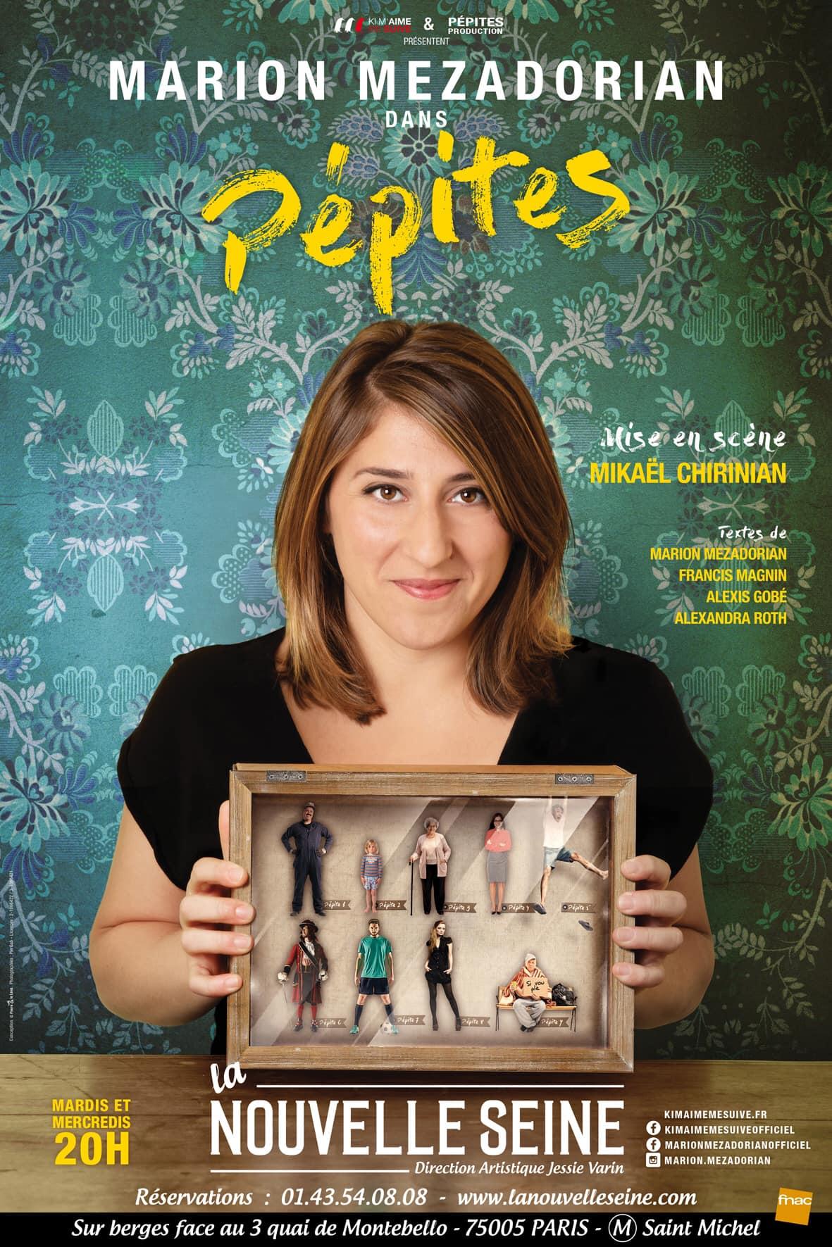 Pépites : la nouvelle affiche du spectacle de Marion Mezadorian à la Nouvelle Seine