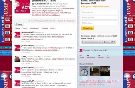 Les Jeunes Actifs de l'UMP 67 sur Twitter