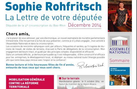 La Lettre d'information parlementaire de Sophie ROHFRITSCH – décembre 2014