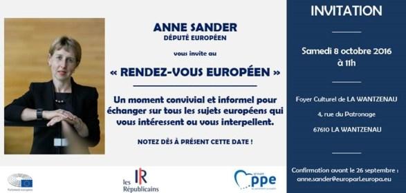 Invitation Anne SANDER rendez-vous européen 08-10-16