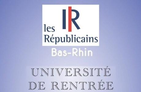Université de rentrée des Républicains du Bas-Rhin – Samedi 29 septembre 2018 à STRASBOURG