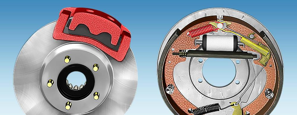 medium resolution of a side by side comparison of a disc brake and a drum brake