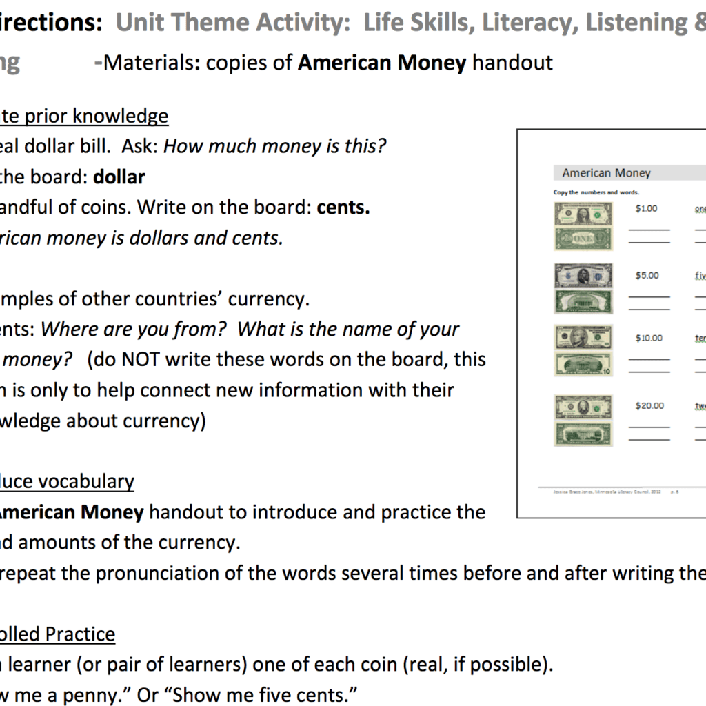 Pre Beginning Esl Money Unit