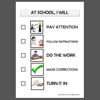 School work completion checklist