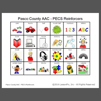 Pasco County AAC  PECS Reinforcers