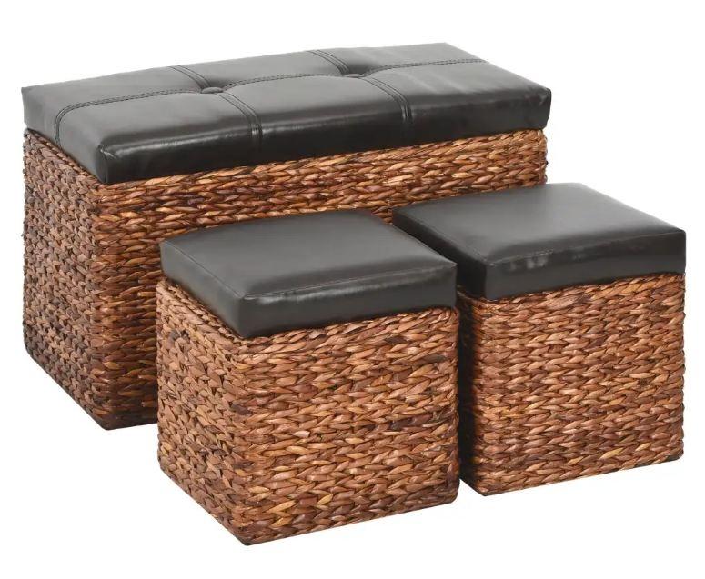 banquette coffre capitonne jacinthe d eau marron avec pouf kiva lot de 3