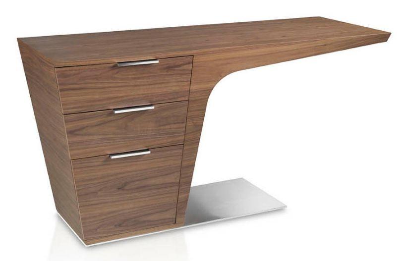 bureau design bois plaque noyer et acier inoxydable kinta