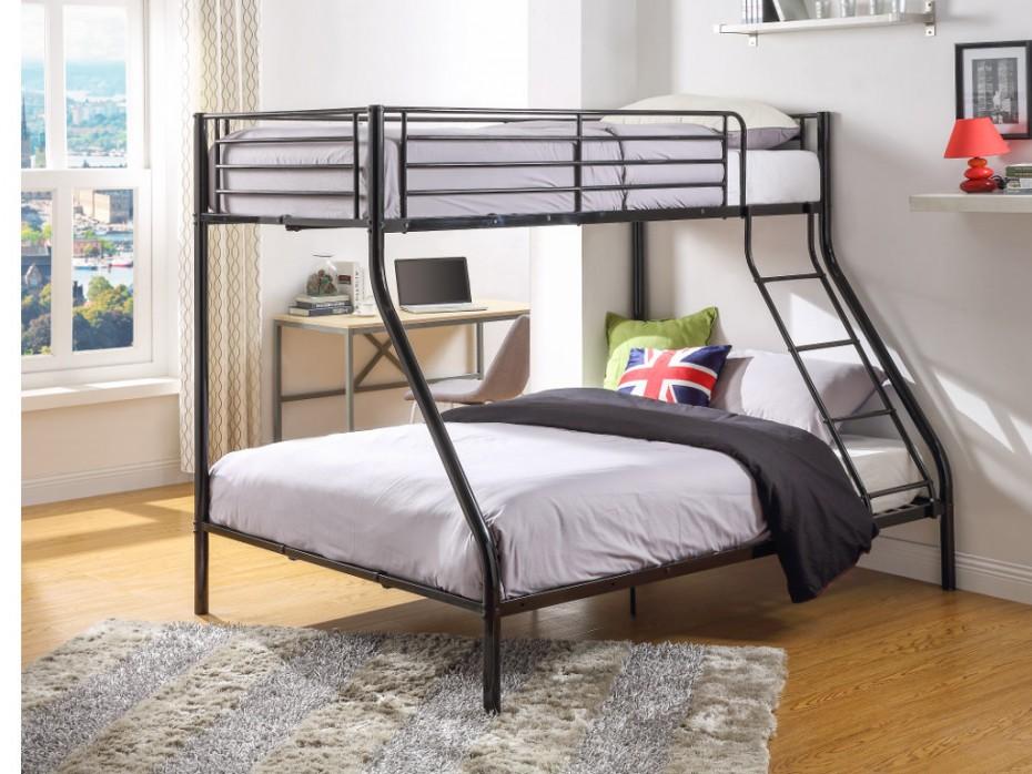 lits superposes metal noir 90 et 140x190cm vito