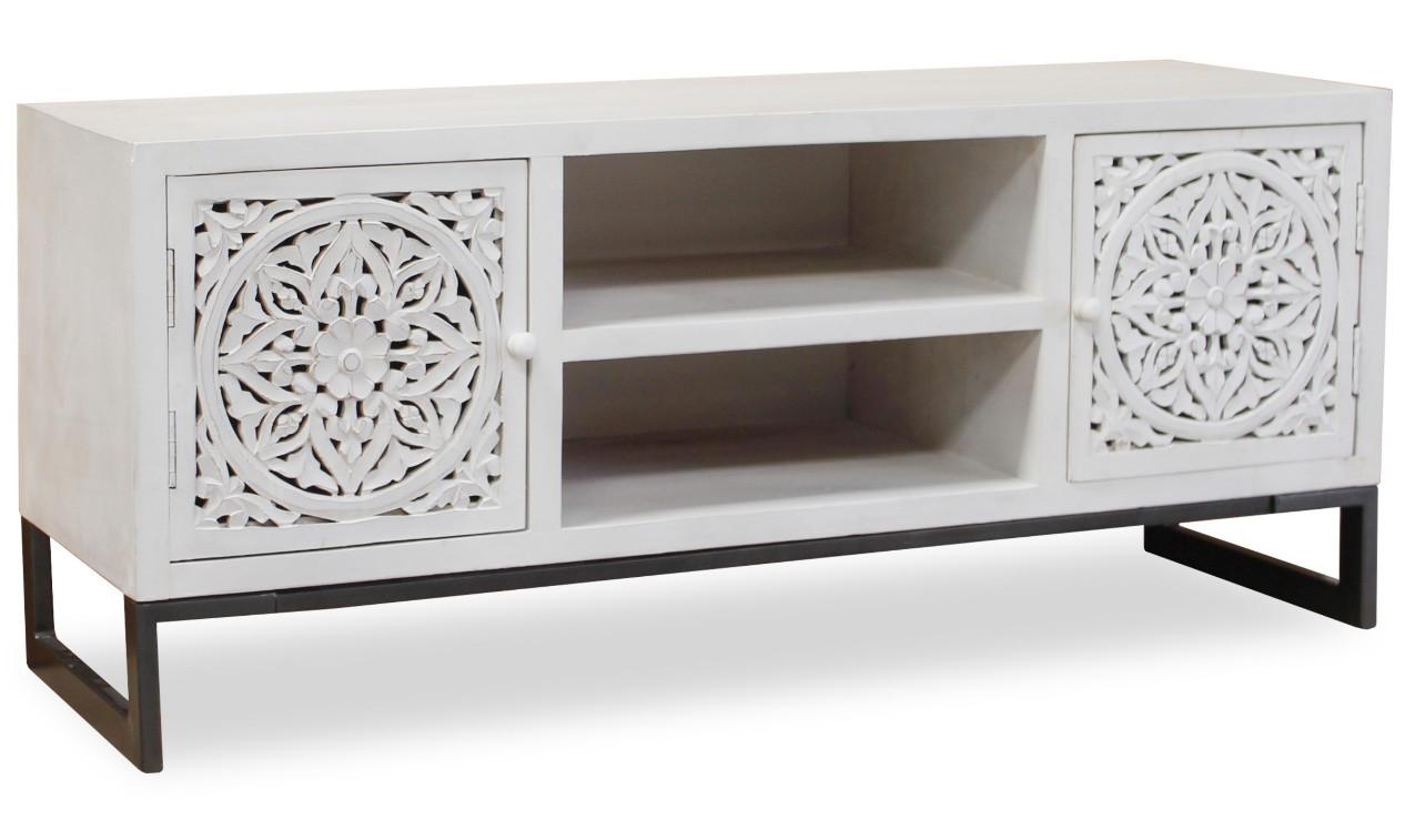 meuble tv 2 portes bois blanc et metal noir dias