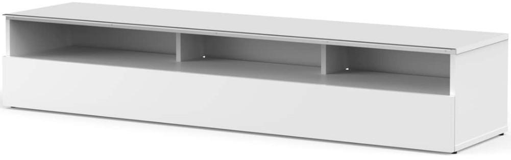 meuble tv 3 niches bois blanc yvanna 160 cm