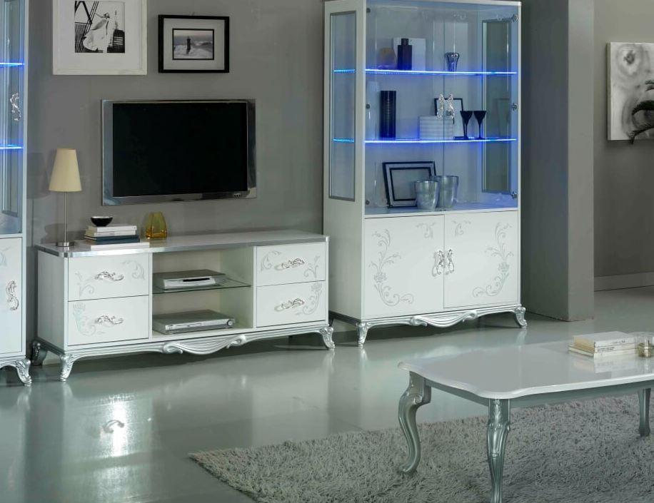 meuble tv 4 tiroirs 2 niches bois laque blanc et argent dannie