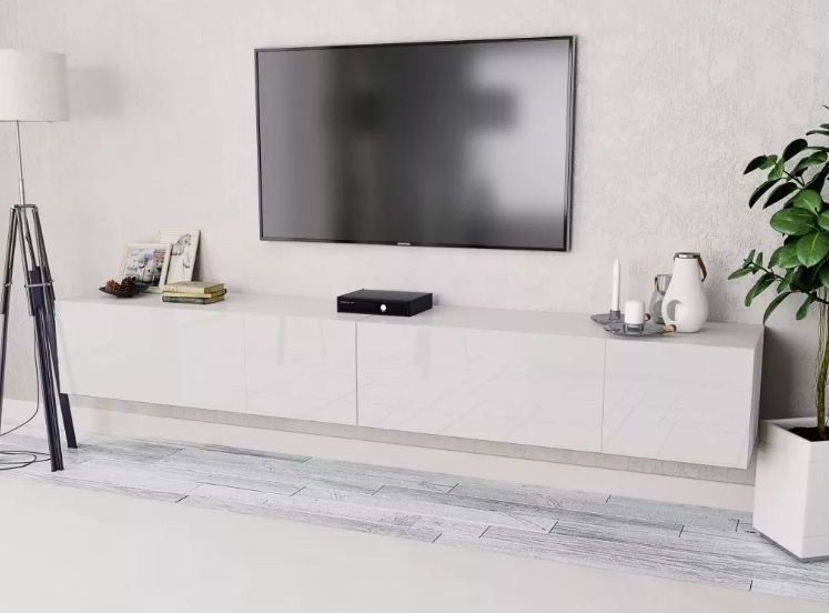 meuble tv suspendu 4 compartiments bois laque blanc chickie l 240 x h 34 x p 40 cm