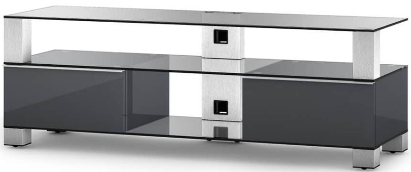 meuble tv verre trempe et laque gris mood 140 cm