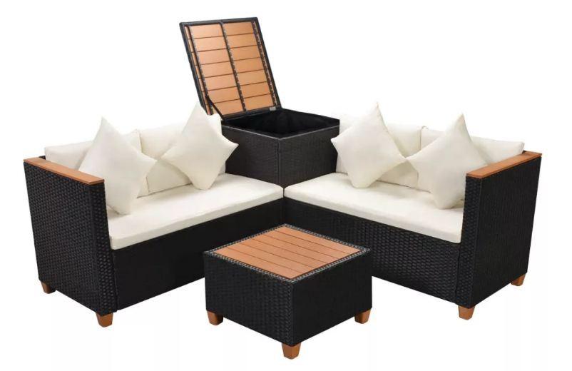 salon de jardin avec coffre de rangement 5 pieces resine tressee noir kimberly