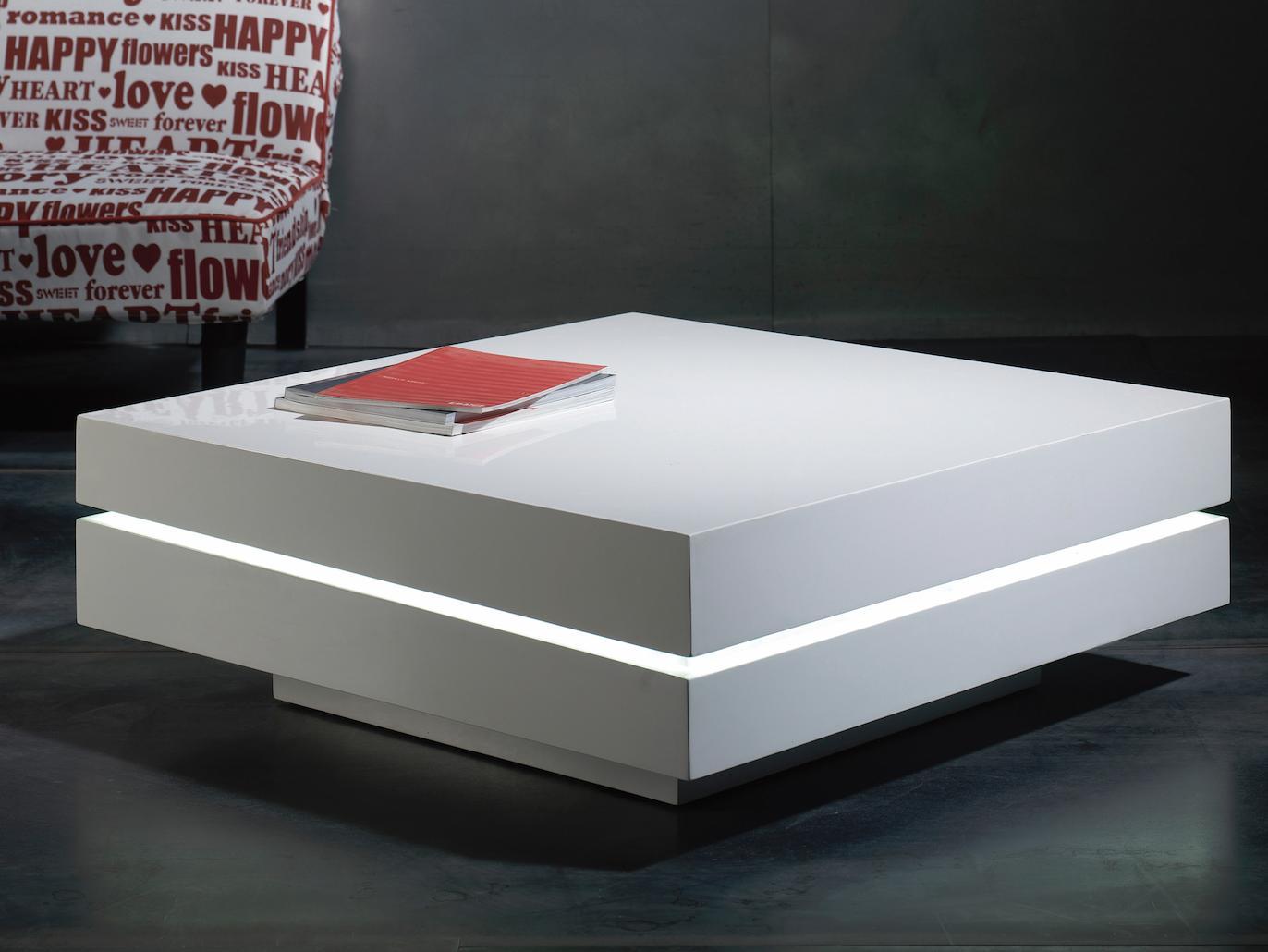 table basse carree laque blanc a led bose