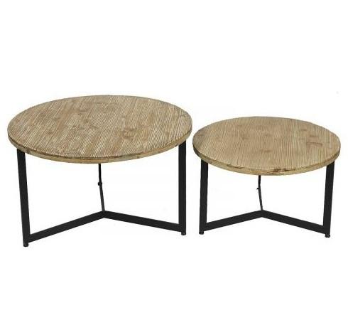 table d appoint ronde pin massif clair et metal noir tax lot de 2
