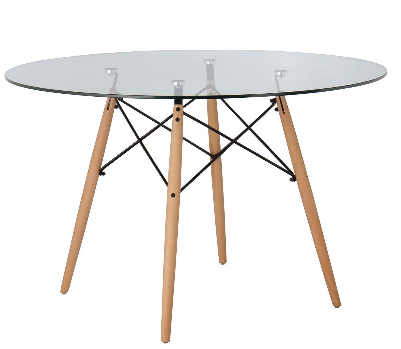 table ronde scandinave verre trempe et pieds bois clair metal noir bristol 120 cm