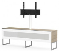 meuble tv avec support ecran sarama 160 verre infrarouge blanc et bois blanc