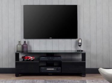 meuble tv mood 9140 verre trempe et laque noir 140 cm