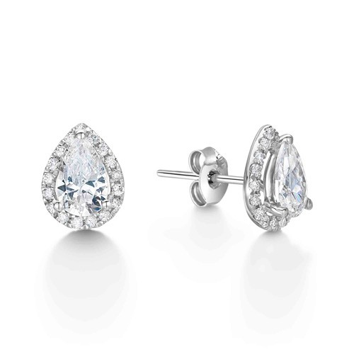 Diamond Pear Earrings Pear Shape Small Dangle Diamond