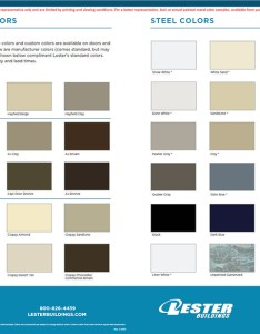 Click on the image above for color chart in pdf format also pole barn colors exterior siding windows  doors lester buildings rh lesterbuildings