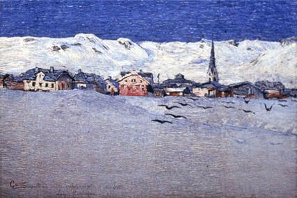 Giovanni Segantini, Savognin sotto la neve (1890)