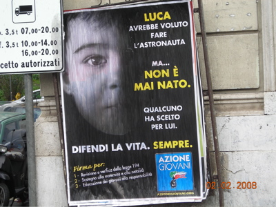 Manifesto Azione Giovani contro l'aborto