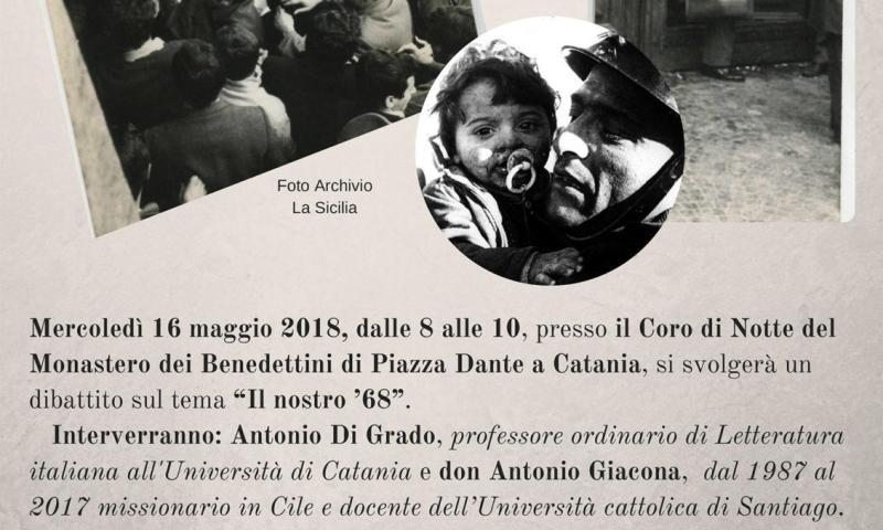 """Partendo da """"Sicilia Studenti"""",  Antonio Di Grado e don Antonio Giacona dialogano sul '68 a Catania."""