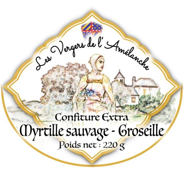 Confiture extra Myrtille Sauvage – Groseille  – 220g