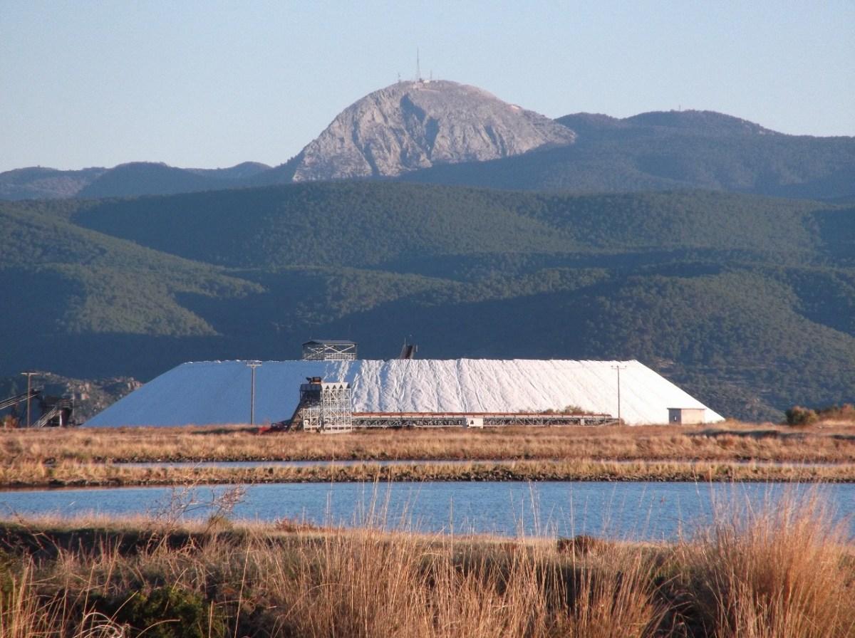 Salt plains Kalloni and Mount Olympos Lesvos